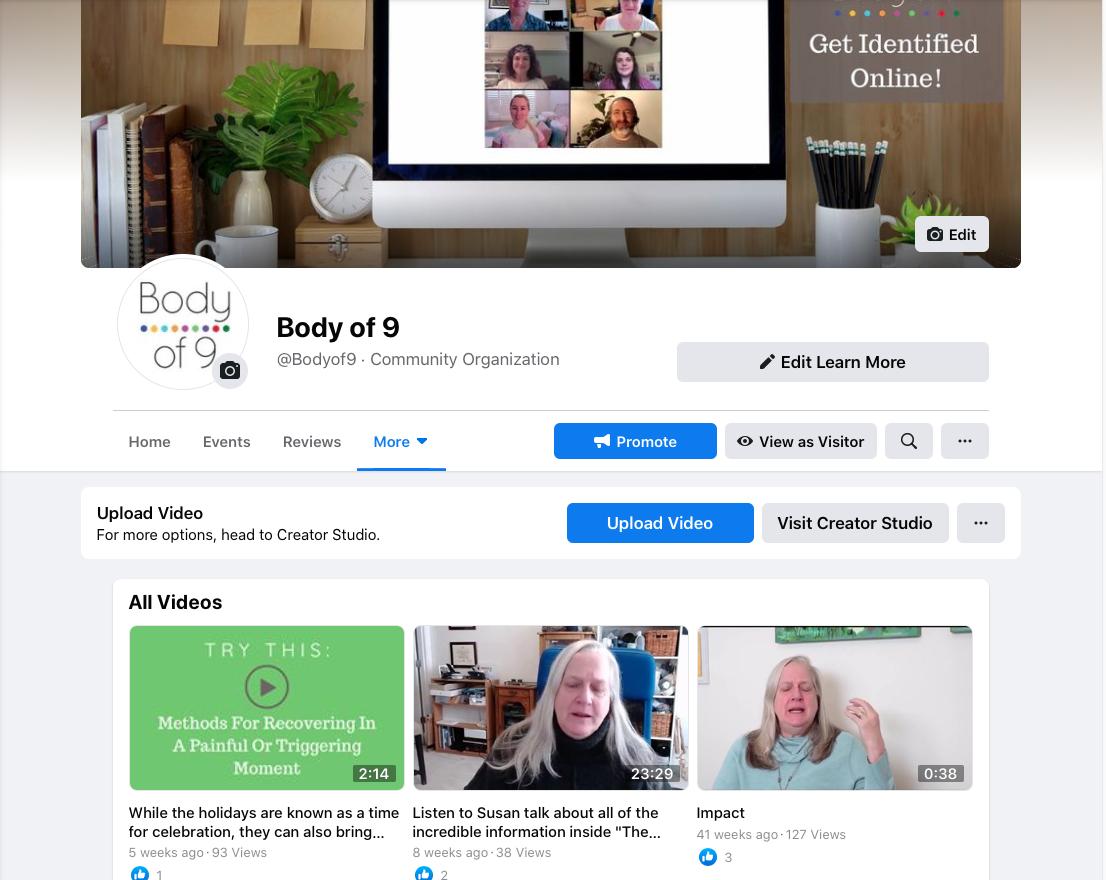 Body of 9 Facebook Videos Page
